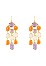 Splash Gemstone Earring Gold Amethyst Carnelian - LATELITA