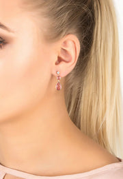 Tuscany Gemstone Drop Earring Rose Gold Pink Tourmaline - LATELITA