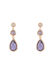 Tuscany Gemstone Drop Earring Rose Gold Amethyst - LATELITA