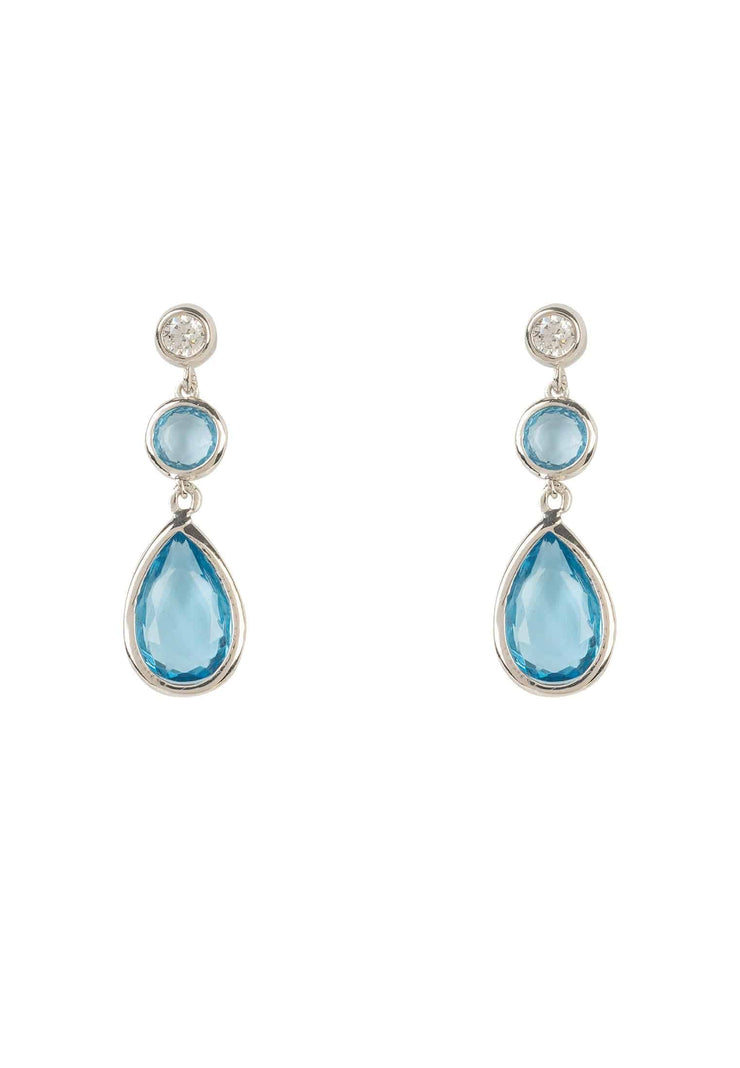 Tuscany Gemstone Drop Earring Silver Blue Topaz Hydro - LATELITA