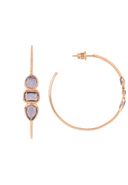Venice Gemstone Hoop Earring Rose Gold Amethyst - LATELITA