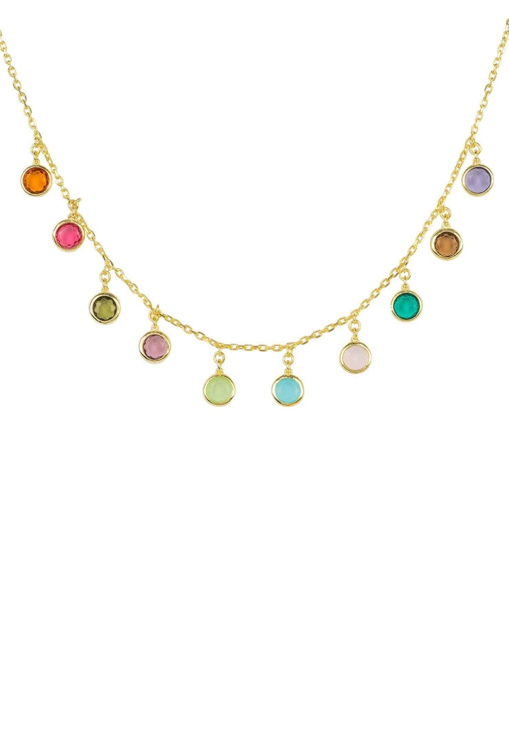 Florence Multi Coloured Gemstone Necklace Gold - LATELITA