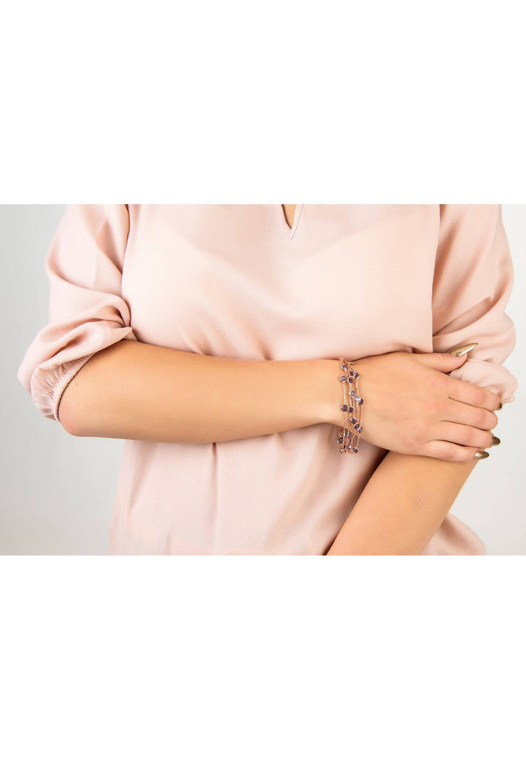Naples Statement Gemstone Bracelet Rose Gold Amethyst - LATELITA