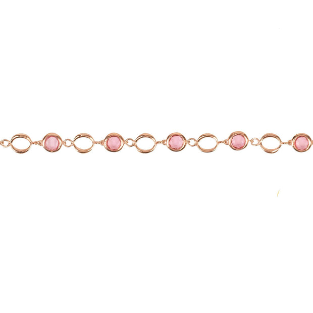 Milan Link Gemstone Bracelet Rose Gold Pink Tourmaline - LATELITA