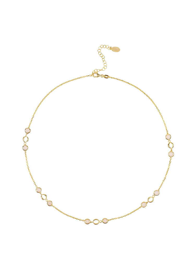 Milan Link Gemstone Necklace Gold Rose Quartz - LATELITA