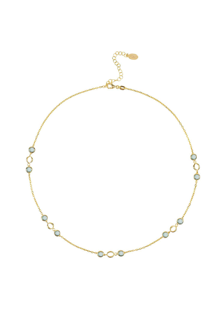 Milan Link Gemstone Necklace Gold Blue Topaz - LATELITA