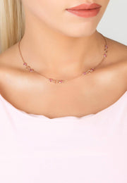 Milan Link Gemstone Necklace Rose Gold Pink Tourmaline - LATELITA