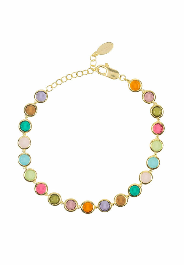 Sardinia Multi Coloured Gemstone Bracelet gold - LATELITA