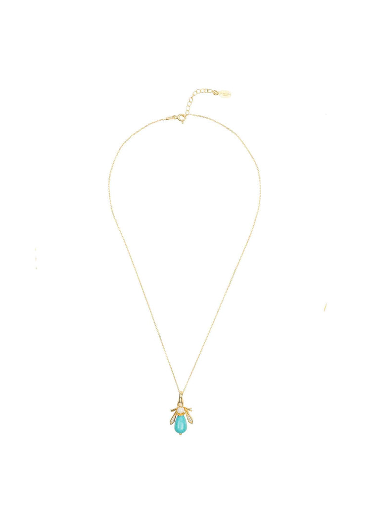 Turquoise & Pearl Gemstone Bee Pendant Necklace Gold - LATELITA