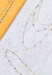 Turquoise Star Choker Necklace Gold - LATELITA