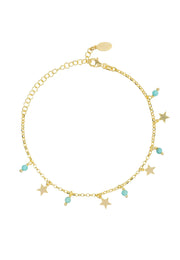 Turquoise Star Gemstone Bracelet Gold - LATELITA