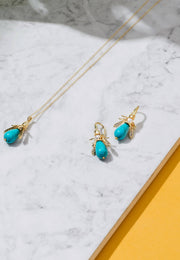 Turquoise Honey Bee Earrings Gold - LATELITA