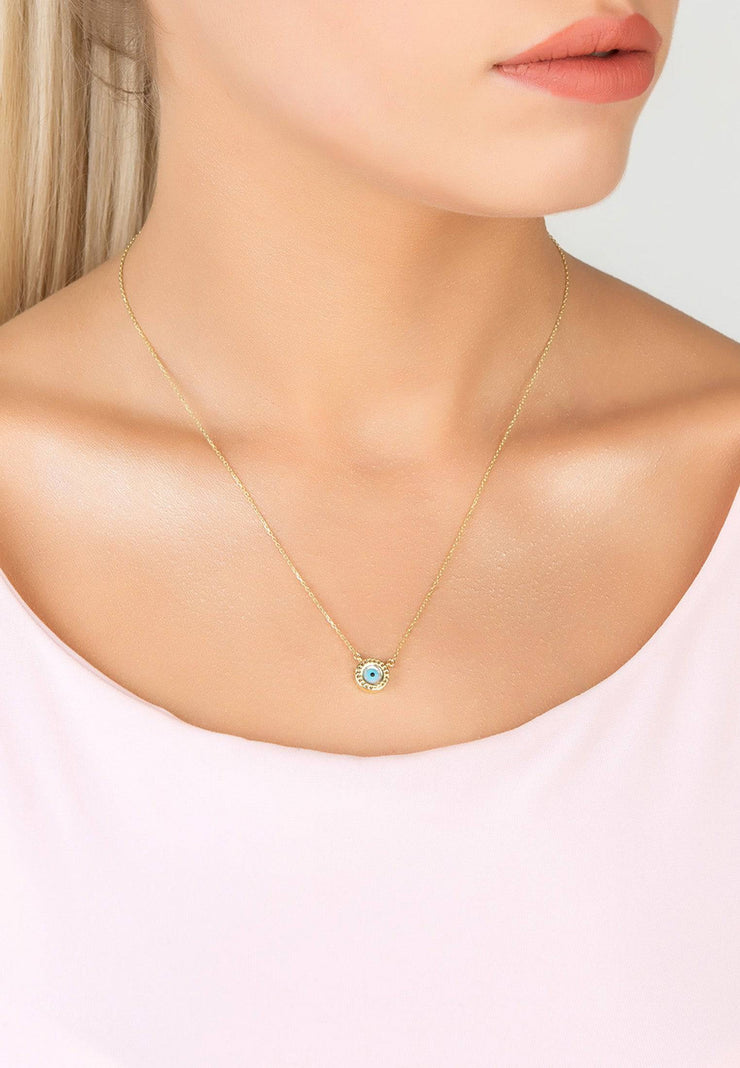 Evil Eye Mother of Pearl Necklace CZ Silver - LATELITA