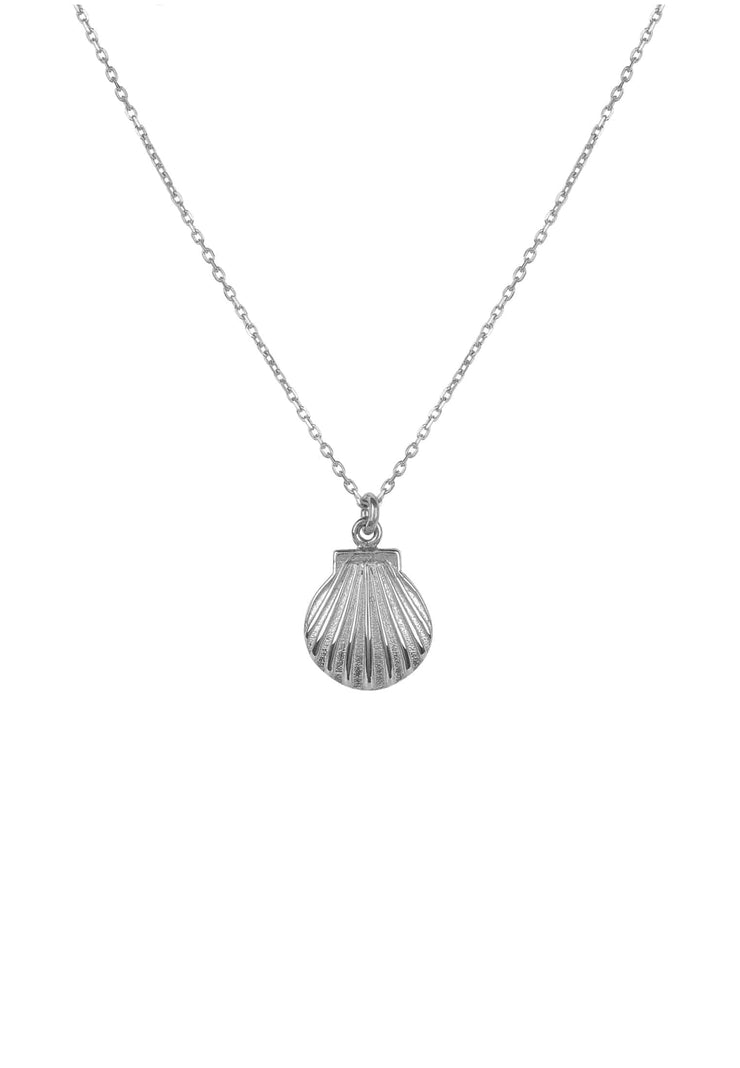 Scallop Mini Shell Necklace Silver - LATELITA