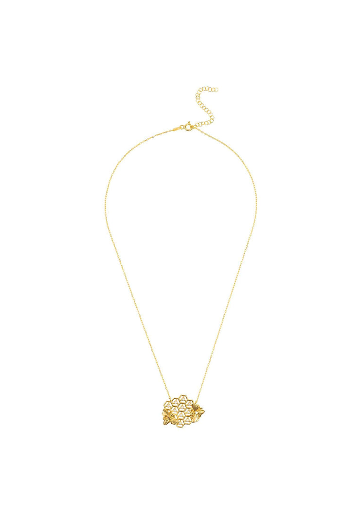 Queen Bee Honey Comb Necklace Gold - LATELITA