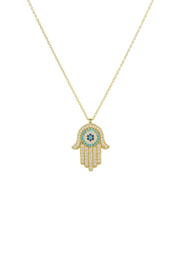 Hamsa Hand with Evil Eye Pendant Necklace Gold - LATELITA