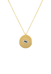 Eye Polished Disc Pendant Necklace Gold - LATELITA