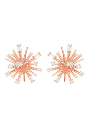 Cosmic Bang Baguette CZ Stud Earring Rose gold - LATELITA
