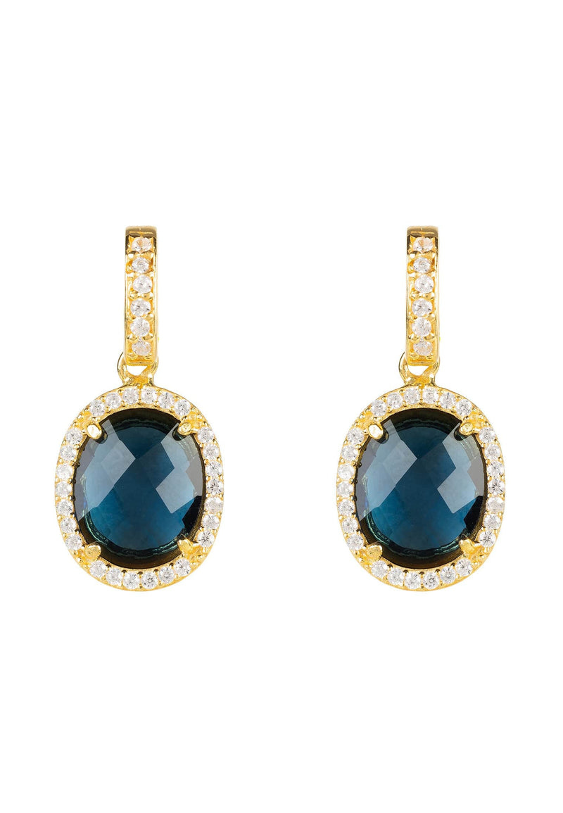 Beatrice Oval Gemstone Drop Earrings Gold Sapphire Hydro - LATELITA