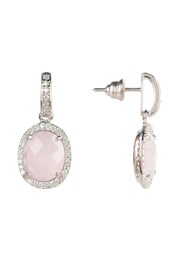 Beatrice Oval Gemstone Drop Earrings Silver Rose Quartz - LATELITA
