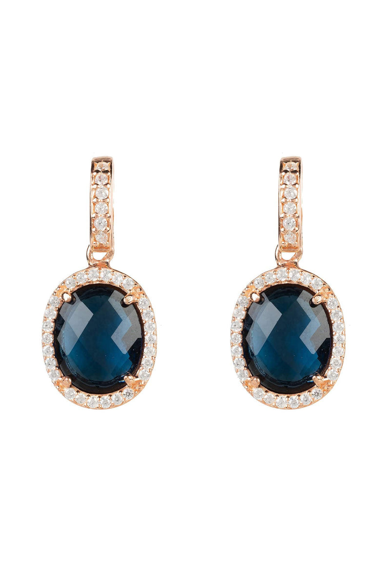 Beatrice Oval Gemstone Drop Earring Rose Gold Sapphire Hydro - LATELITA