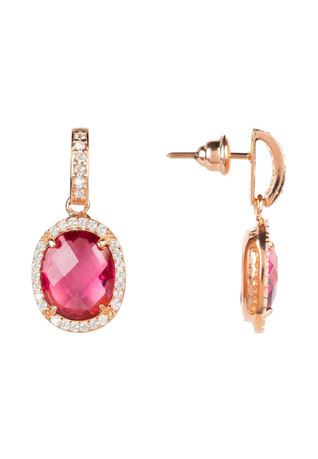 Beatrice Oval Gemstone Drop Earring Rose Gold Pink Tourmaline - LATELITA