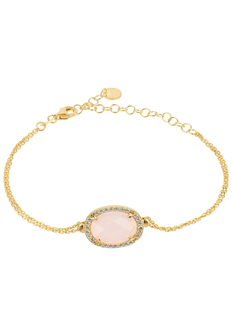 Beatrice Oval Gemstone Bracelet Gold Rose Quartz - LATELITA