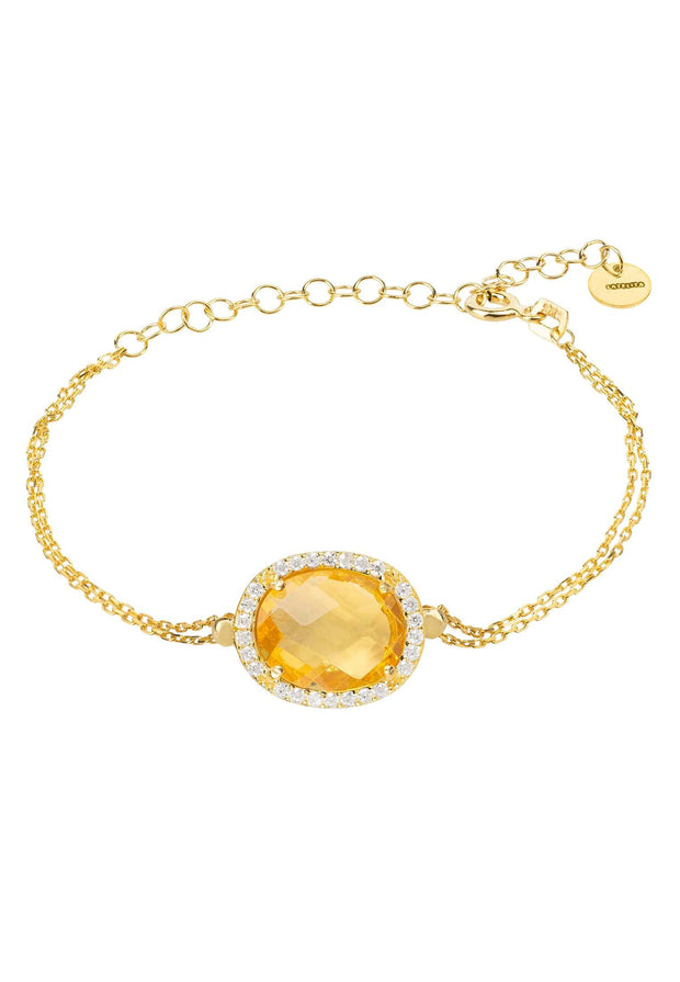 Beatrice Oval Gemstone Bracelet Gold Citrine Hydro - LATELITA
