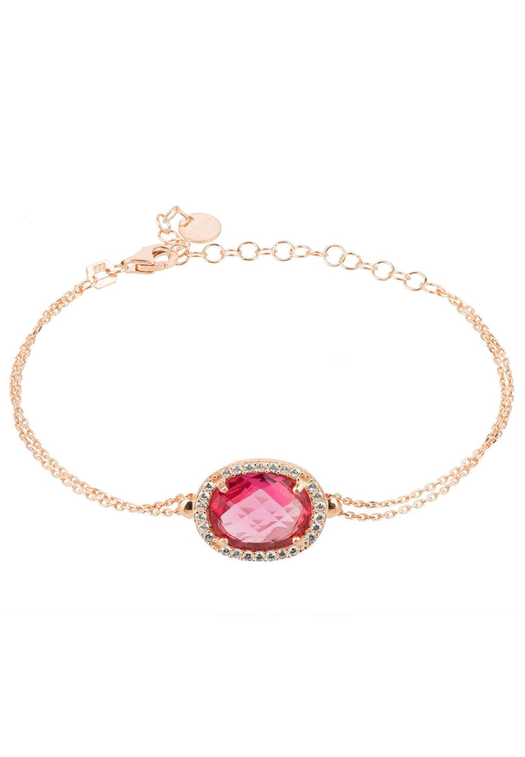 Beatrice Oval Gemstone Bracelet Rose Gold Pink Tourmaline - LATELITA