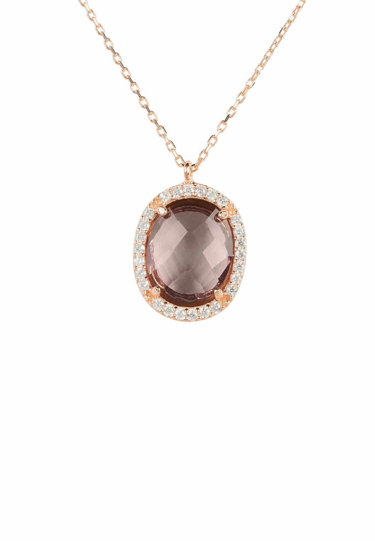 Beatrice Oval Gemstone Pendant Necklace Rose Gold Amethyst Hydro - LATELITA