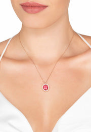 Beatrice Oval Gemstone Pendant Necklace Rose Gold Pink Tourmaline - LATELITA