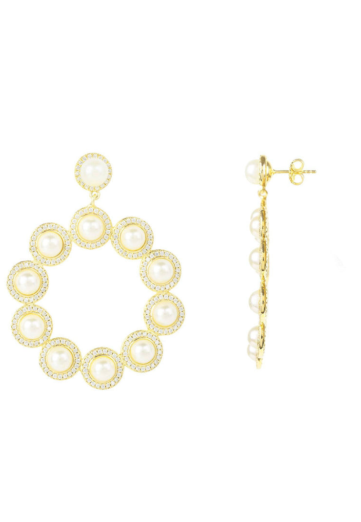 Gatsby Pearl Gemstone Statement Earrings Gold - LATELITA