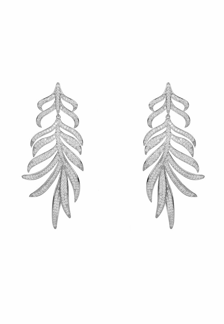 Feathered leaf statement Drop Earring silver - LATELITA