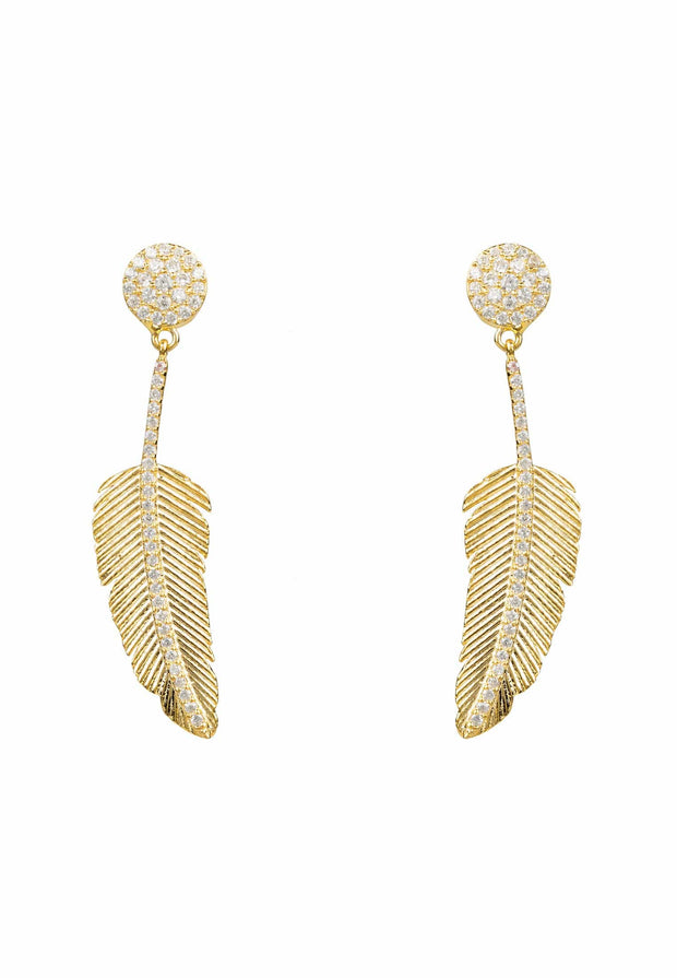 Angelic Feather Drop Earring Gold - LATELITA