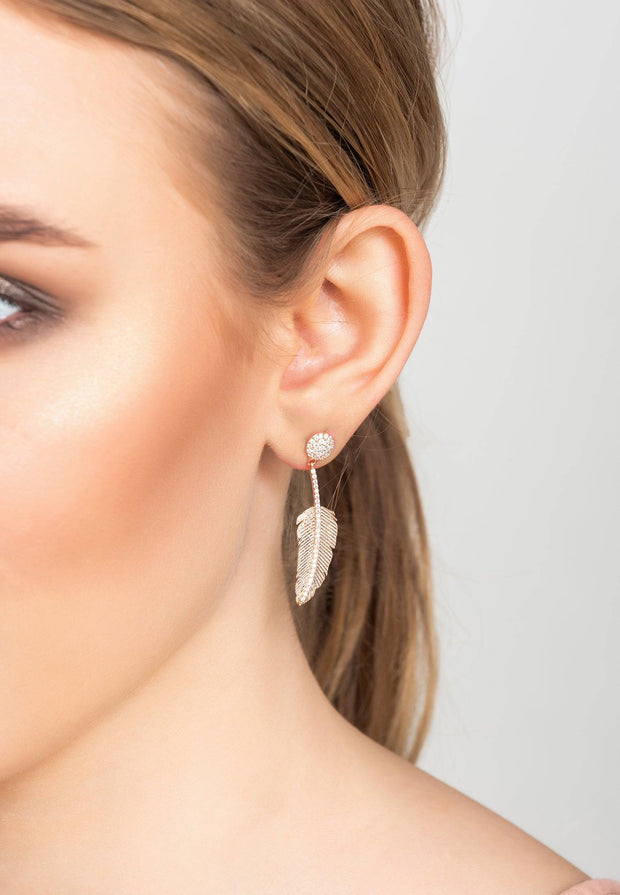 Angelic Feather Drop Earring Rose Gold - LATELITA