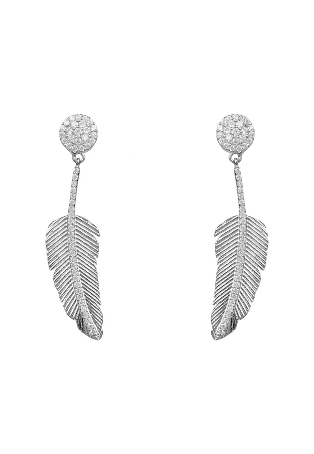 Angelic Feather Drop Earring Silver - LATELITA