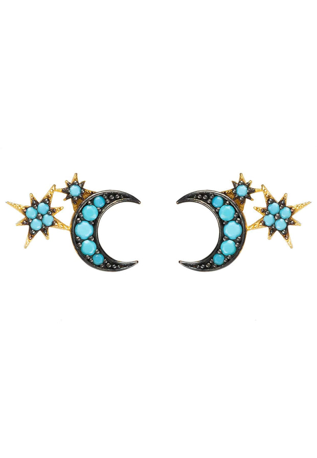 Moon and Starburst Small Stud Earrings Turquoise - LATELITA