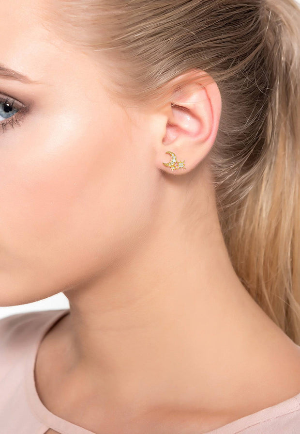 Moon and Starburst Small Stud Earrings Gold - LATELITA