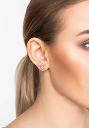 Moon and Starburst Small Stud Earrings Rosegold - LATELITA