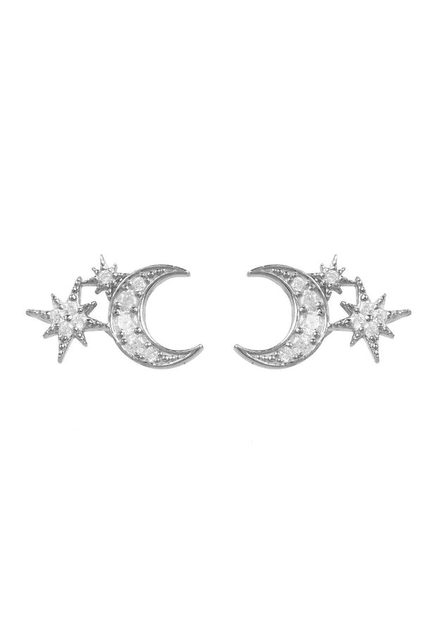 Moon and Starburst Small Stud Earrings Silver - LATELITA
