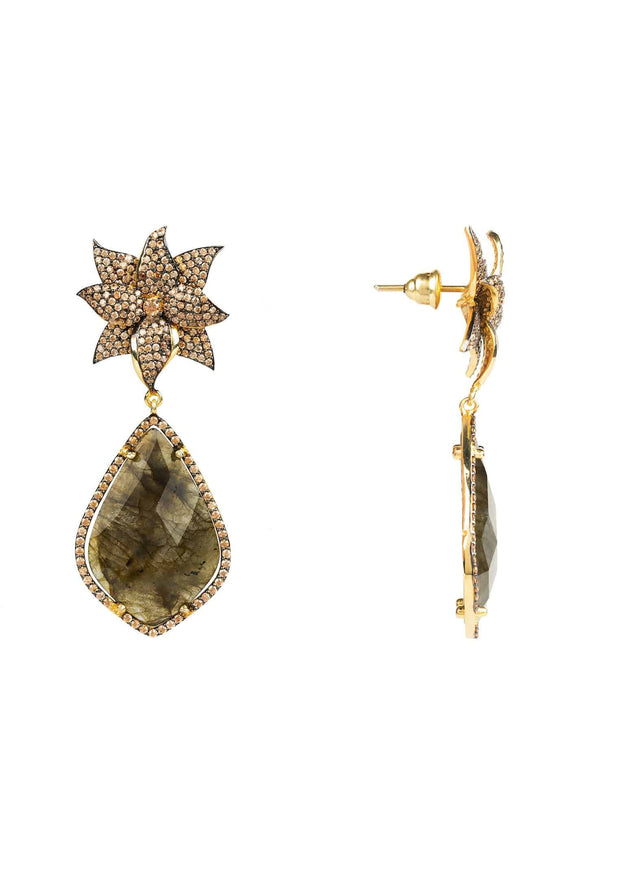Lotus Flower Teardrop Labradorite Earring gold - LATELITA