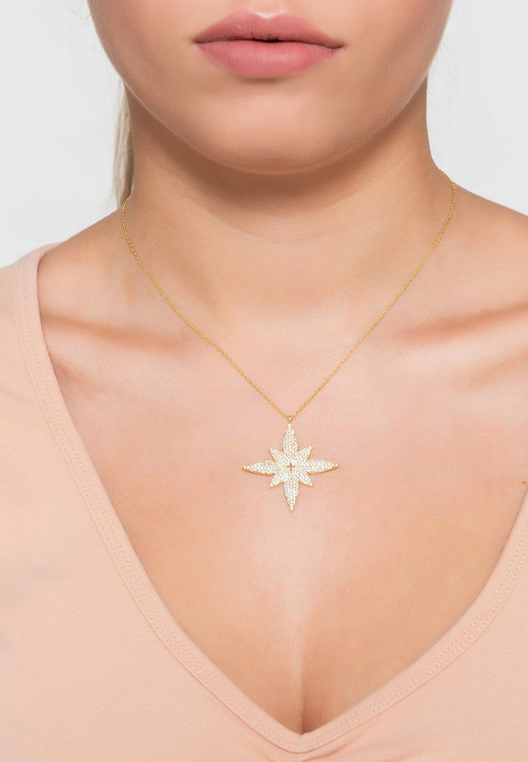 Star flower pendant necklace gold - LATELITA