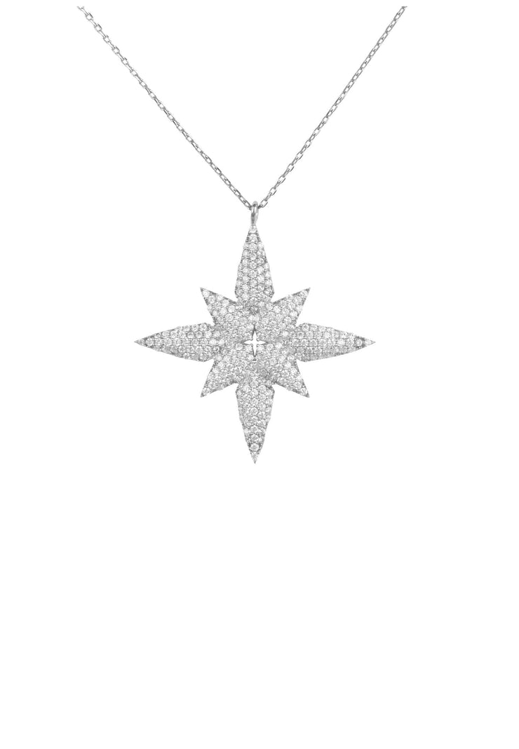 Star flower pendant necklace silver - LATELITA