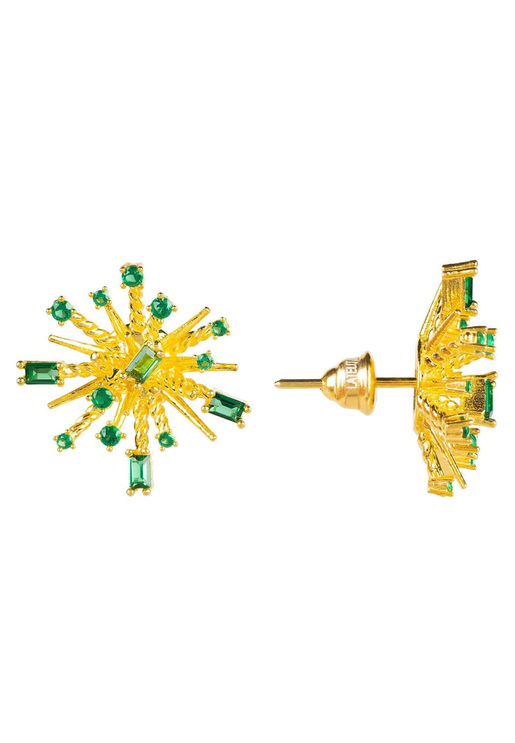 Cosmic Bang Baguette CZ Stud Earring Green CZ Gold - LATELITA