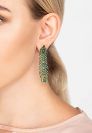 Peacock Feather Elongated Drop Earrings Green CZ - LATELITA