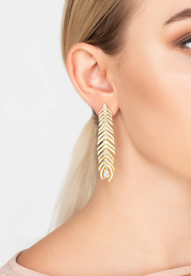 Peacock Feather Elongated Drop Earrings gold - LATELITA