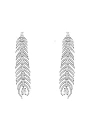 Peacock Feather Elongated Drop Earrings silver - LATELITA