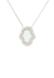 Hamsa Opalite Necklace White silver - LATELITA