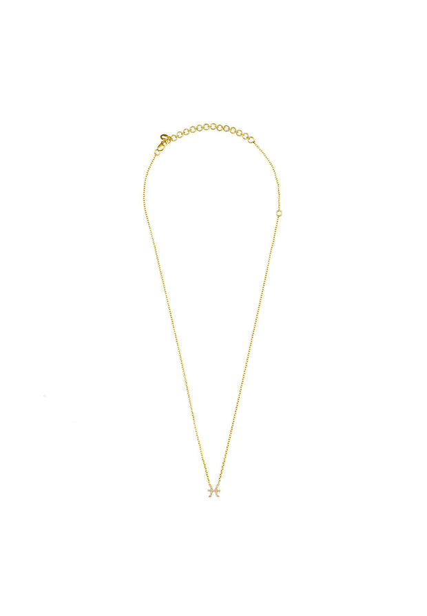 Diamond Zodiac Necklace Gold Pisces - LATELITA