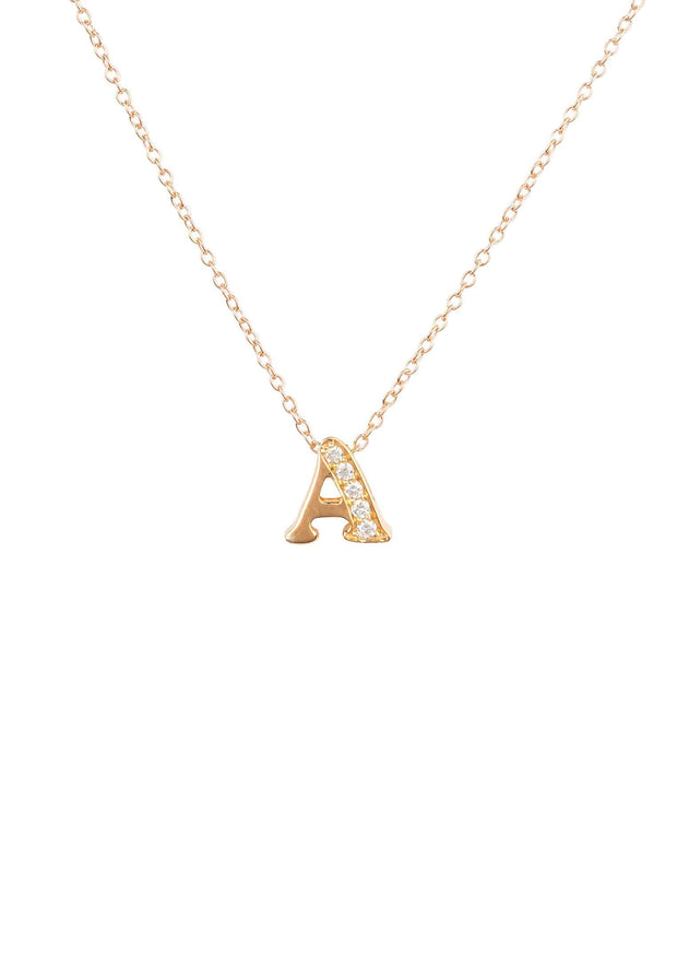 Diamond Initial Letter Pendant Necklace Rose Gold A - LATELITA